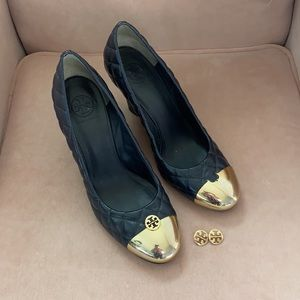 Tory Burch Navy Quilted High Wedges Sz 10